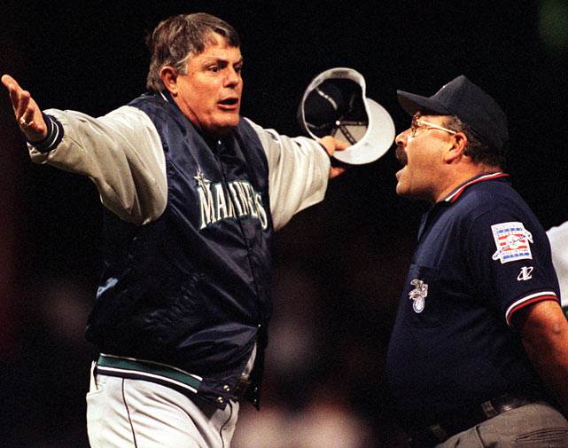 Anger gave way to incredulity during this argument with umpire Al Clark during a 1999 game between the Mariners and Tigers. Ken Griffey Jr. was called safe after stealing second base, but Clark changed his own call and ruled Griffey out.