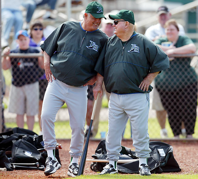Piniella and Don Zimmer at the start of spring training with the Devil Rays in 2004.
