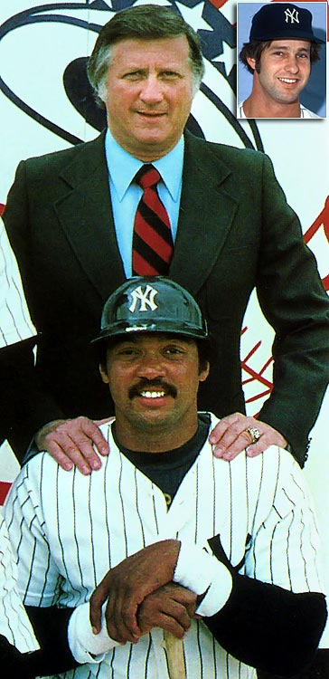 "Steinbrenner goes for the gusto by signing former A's slugger Reggie ""Mr. October"" Jackson to a five-year deal worth $2.9 million, thus ushering in the tumultous, if successful, Bronx Zoo era. Former Red ace Don Gullett (inset) is signed for six years at $2 million but spends much of his two years in the Bronx nursing arm woes."