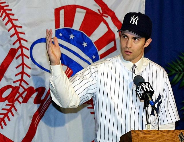 Longtime Baltimore Orioles ace Mike Mussina is added to the starting staff with six-year pact valued at $88.5 million.