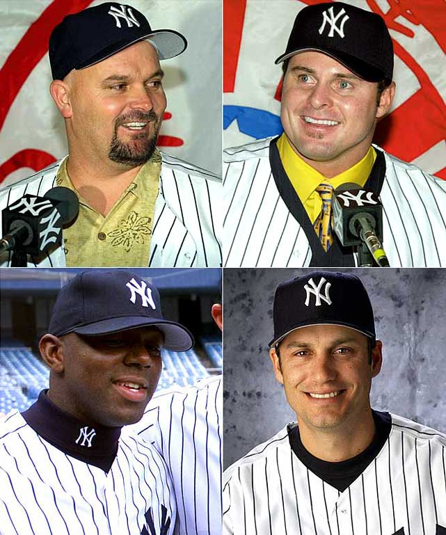 Rotund hurler David Wells returns for his second stint in the Bronx, at three years for $13.5 million, but the bigger prize is slugger Jason Giambi, lured from Oakland with a seven-year deal worth $120 million. Lesser additions include outfielder Rondell White (two years, $10 million) and third baseman Robin Ventura (one year, $5 million).