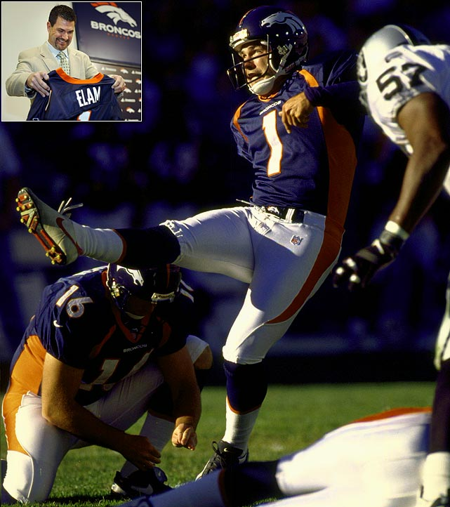 Elam is the record-holder for most games played with the Broncos franchise at 236. In his 15 seasons with Denver, the kicker scored a point in every game he played. His sign-and-retire came in March 2010.