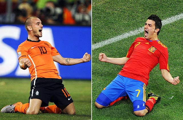 The Netherlands and Spain made the World Cup final with victories against Uruguay and Germany, respectively. The Dutch did it with goals three minutes apart in the second half (after a spectacular 35-yard strike from Giovanni Van Bronckhorst in the first half) en route to a 3-2 win, while Spain dominated possession and got the only goal of the match on a second-half header from Carles Puyol. A championship victory would be the first for either country.