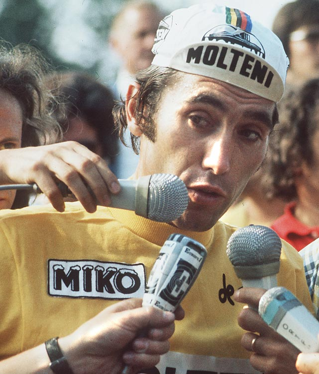 Many still consider Merckx the greatest cyclist ever, even after the Armstrong era. In addition to his five Tour de France victories, Merckx won the Giro d'Italia five times and the Vuelta a Espana once. He won the world title as an amateur and a pro and broke the record for most distance covered in an hour. Merckx finally began to fade away in 1975, when he was runner-up in France. He raced once more, finishing sixth in 1977, before retiring.