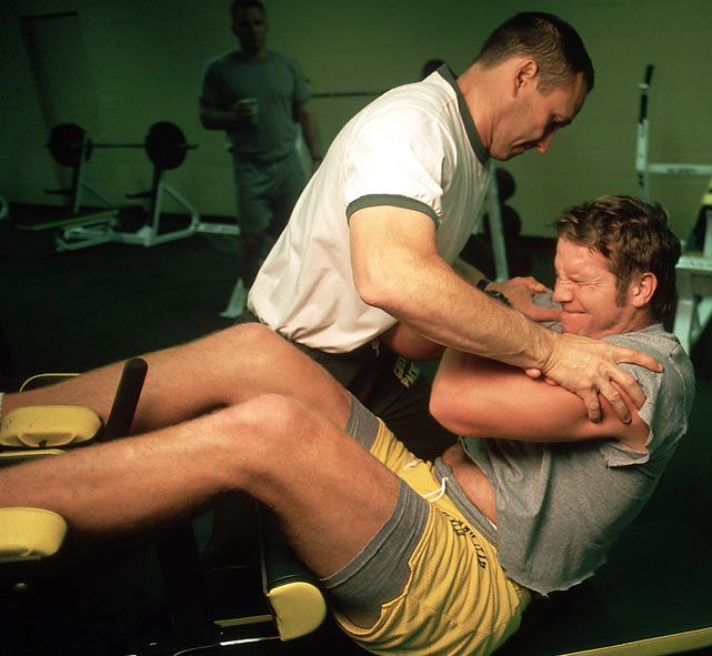 Packers QB Brett Favre gets in a workout.