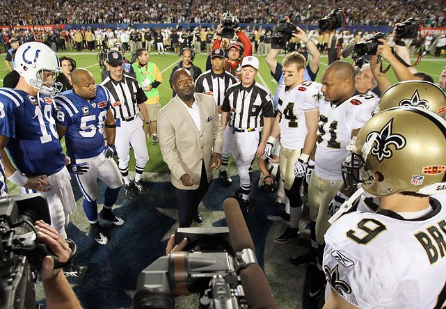 Smith flips the coin prior to the start of Super Bowl XLIV between the Indianapolis Colts and the New Orleans Saints in Miami.