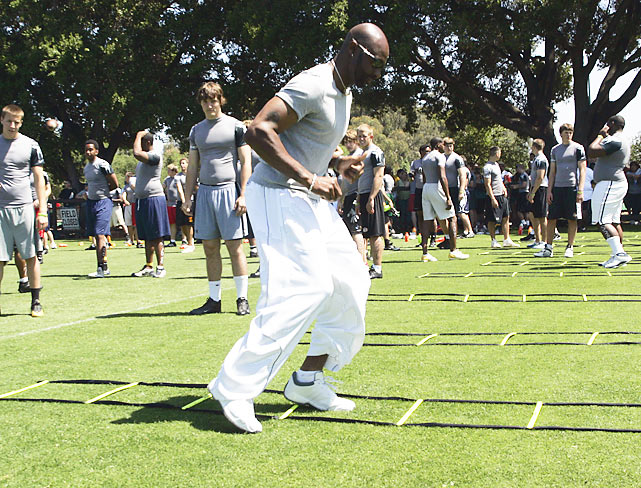 Even after retiring, Rice couldn't get away from the game. He performed agility drills with the campers at the Nike Football Training Camp at Stanford University.