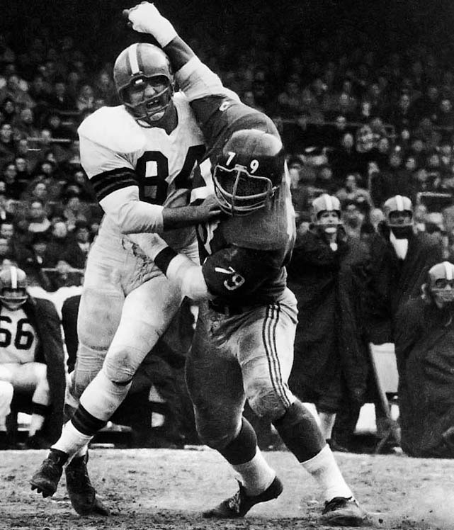 <p>Brown started 13 seasons for the Giants at tackle and was an All-NFL selection for eight straight years (1956-1963)</p><p>Runner-Up: Erik Williams</p><p>Worthy of consideration: Harris Barton, Roosevelt Brown, Ross Browner, Jacob Green, Gary Johnson, Jim Lachey, Jim Hunt, Harvey Martin, Bob St. Claire</p>