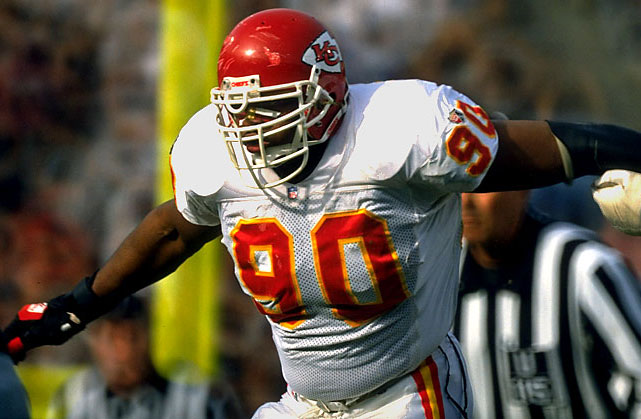 <p>He and Chiefs teammate Derrick Thomas combined to form one of the most devastating pass rushing duos in NFL history. (Smith famously swung a baseball bat after the sacking the quarterback, a tribute to fellow Kansas city icon George Brett.) Late in his career he left for rival Denver, where he went on to win a pair of Super Bowl titles. He finished with 86.6 career sacks.<strong></strong></p><p>Runner-up: Jevon Kearse</p><p>Worthy of consideration: Tony Brackens, Chad Eaton, Julius Peppers, Chuck Smith, George Webster</p>