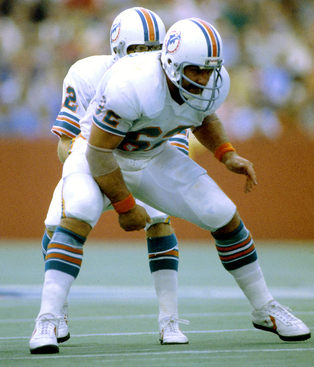 Langer held together the middle of the offensive line for the Miami Dolphins of the 1970s after going undrafted out of South Dakota State. He was a six-time Pro Bowl pick, and in 1973, 1974, 1975 and 1977 was named a first-team All-Pro.