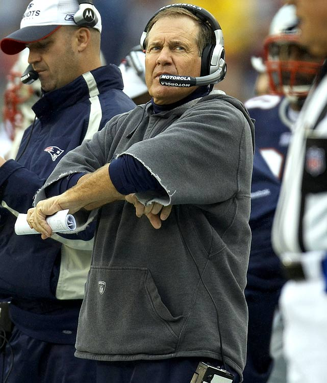For anywhere from $45-$95, you, too, can buy the right to cut the arms off a brand new Patriots sweatshirt. Naturally, thousands of fans have done exactly that. Belichick's cut-off sweatshirt has become its own cottage industry. There's a special technique to cutting the sleeves, too -- not too high, not to low.