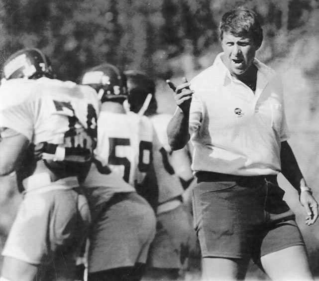 Bill Parcells, in his first season as head coach of the Giants, shouts instructions to his players at training camp in Pleasantville, N.Y.