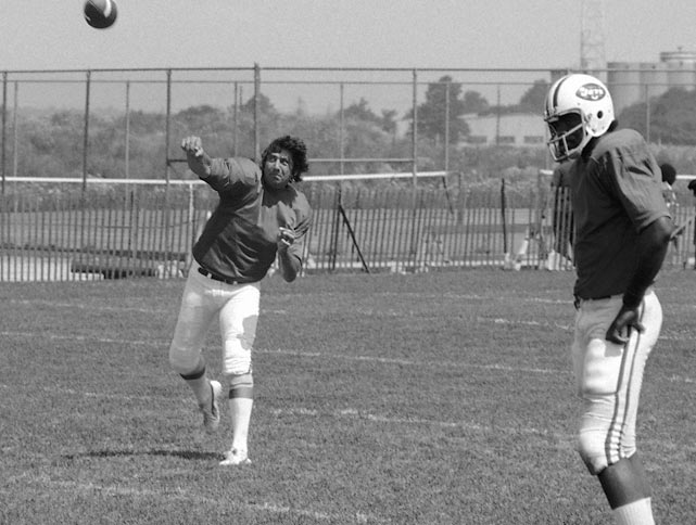 Joe Namath demonstrates his throwing form at the Jets' training camp at Hempstead, N.Y.
