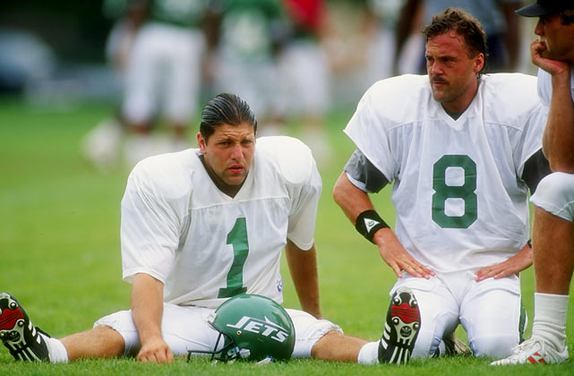 Tony Meola (left), who served as goalkeeper during the U.S. soccer team's 1994 World Cup run, stretches with Nick Lowery during Jets training camp at Hofstra University in Hempstead, N.Y.