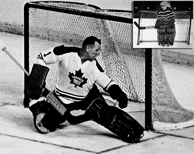 The Hall of Fame netminder was 44 when he appeared in 20 games for the Toronto Maple Leafs in 1968-69, going 5-4-3 with a 2.85 GAA. The next season, he wrapped up his 15-year NHL career with a one-game swan song in which he surrendered five goals in a loss that dropped his overall mark to 250-195-90. But Bower isn't the oldest goalie to play in the NHL. Moe Roberts (inset) was nearly 46 and a Black Hawks trainer when he appeared in one game for Chicago as an emergency replacement for the injured Harry Lumley in November 1951. Interestingly, the career minor leaguer played only 10 games spread out over four NHL seasons for Chicago, the New York Americans and Boston Bruins. He made his NHL debut at age 20 in 1925-26.