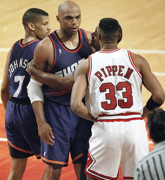 Pippen and Charles Barkley exchange words during the third quarter of Game 4 of the NBA Finals. The two would wind up as teammates in Houston at the end of their careers.