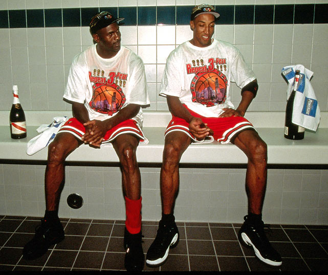 Pippen shares a moment with Michael Jordan after the longtime teammates won their sixth and final NBA title.