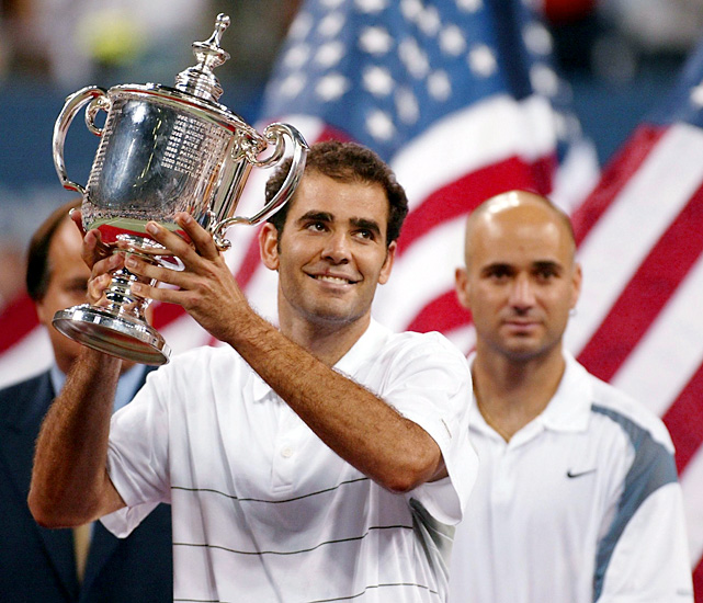 Pete Sampras defeats Andre Agassi 6-3, 6-4, 5-7, 6-4 to capture his fifth U.S. Open title and his 14th career Grand Slam title in his final professional match.