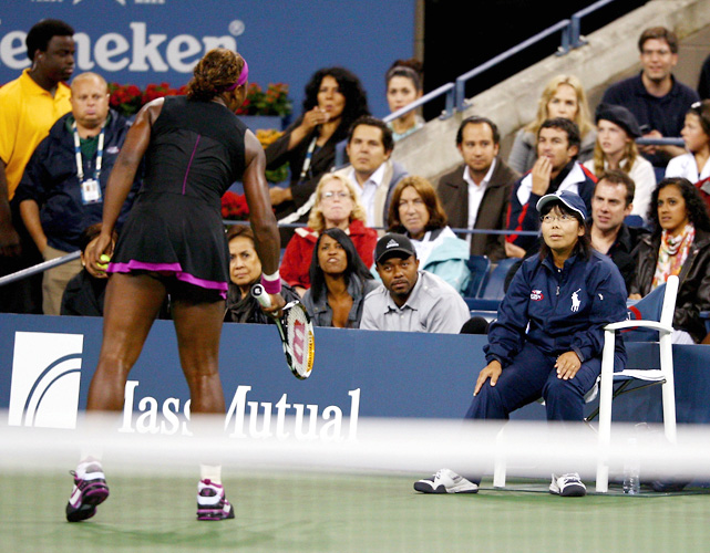 In a bizarre finish to a closely contested semifinal, Serena Williams is called for a foot fault on a second serve while trailing Kim Clijsters, 4-6, 5-6, 15-30. The call gives Clijsters a match point. Williams disagrees, angrily confronting the lineswoman who made the call. After a discussion between Williams, the lineswoman, the chair umpire and the tournament referee, it is ruled that Williams' outburst earns her a code violation. The code violation is Williams' second of the match and results in a point penalty that hands Clijsters the game and, with it, the set and the match.