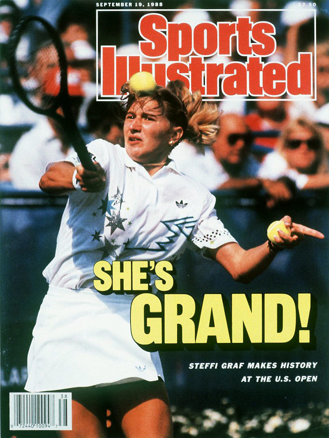 "Steffi Graf becomes the third woman to complete the Grand Slam, defeating Gabriela Sabatini in the women's final, 6-3, 3-6, 6-1. Graf also won the gold medal at the 1988 Summer Olympics for a ""Golden Slam."""