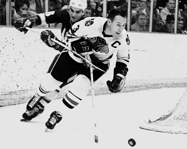 The Blackhawk Hall of Famer's lack of size belied his toughness and ferocity. He was an ironman workhorse who once cold-cocked both Rocket and Henri Richard in one brawl. One of the game's best blueliners of the 1950s (three Norris trophies), Pilote's name went on the Stanley Cup along with Bobby Hull's and Stan Mikita's in 1961.<br><br>Of note, Zdeno Chara, the 2008-09 Norris Trophy-winner, wore 3 for his first eight seasons before switching to 33 in Boston, where he has produced his best numbers.