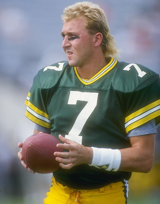 Green Bay quarterback Don Majkowski looks on during a game against Tampa Bay. Majkowski had a strong start to the season but tore his rotator cuff during Week 10 and missed the rest of the season.