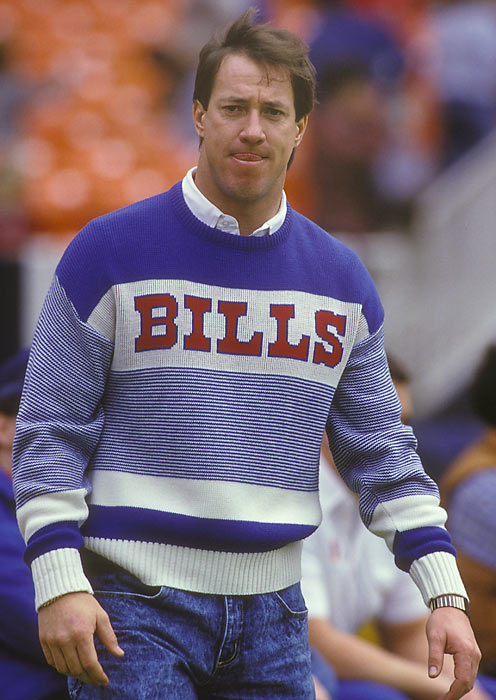 Bills quarterback Jim Kelly, who led the league with a 101.2 passer rating, arrives at RFK Stadium before a game against the Redskins.