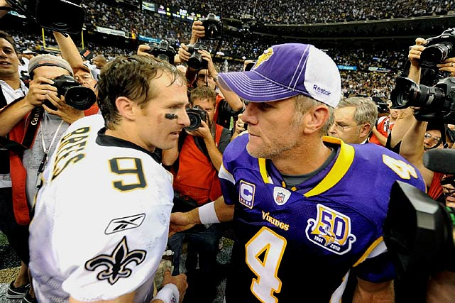 "Brees and Vikings quarterback Brett Favre meet on the field after the Saints' NFC Championship victory. ""We've used the strength and resiliency of our fans to go out and play every Sunday and play with the confidence that we can do it, that we can achieve everything we've set out to achieve,"" Brees said after the game."