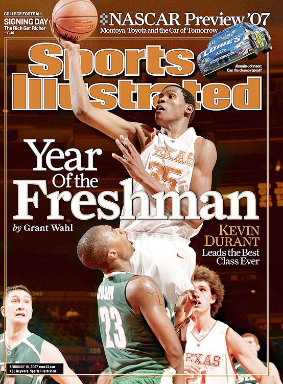 In his only season at Texas, Kevin Durant carried the Longhorns on his narrow shoulders to the tune of 25.8 ppg and 11.1 rpg. Durant was unable to lead Texas past the second round of the NCAA tournament, but he was the first freshman to win the both the Naismith Award and the AP College Player of the Year award.