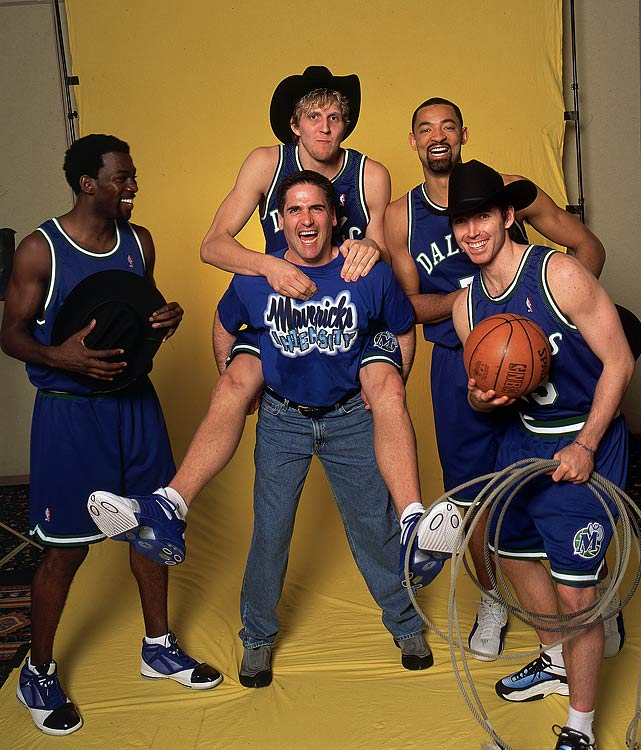 After two mediocre seasons in Phoneix, Nash was traded to Dallas for Martin Muursepp, Bubba Wells, Pat Garrity and a first-round draft pick. The Mavs struggled at first, but the drafting of Dirk Nowitzki and the acquisition of Michael Finley and Juwan Howard turned the Mavericks into contenders. The person with the biggest impact on Dallas' success was Mark Cuban, who purchased the team in 2000 and instantly turned them into contenders.