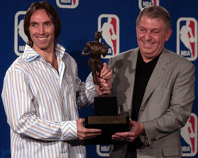 Established as one of the most unselfish players in the league, Nash received some hardware of his own in 2005.  Jerry Colangelo presents him with the MVP Trophy, the first of two consecutive seasons that he'd bring home the award.