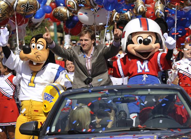 Brees enjoys a ride through Magic Kingdom with friends Goofy and Mickey Mouse following the Saints Super Bowl XLIV triumph.  Like many other former Super Bowl champs, Brees punctuated his title with a celebratory trip to Disney World.