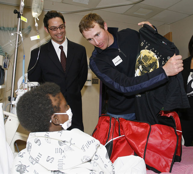 "An influential figure in both San Diego and New Orleans, Brees doles out inspirational Saints' shirts at Rady's Children's Hospital during an event in April 2008.  The event benefited the Brees Dream Foundation, which was founded in 2003 to ""advance research in the fight against Cancer and provide care, education and opportunities to children in need,"" according to its official web site."