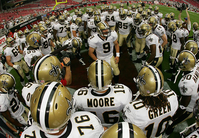 Brees pumps up the Saints prior to a preseason matchup with the Cardinals in 2008.  The quarterback has become known for his pregame chants, drawing from Marine Corps rituals and the movie 300 to motivate his teammates.