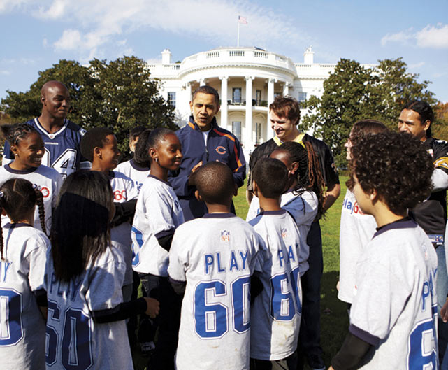 Brees, President Barack Obama, DeMarcus Ware and Troy Polamalu get involved in the NFL's Play 60 campaign in November 2009.  Their work with the children was filmed as a commercial to spread awareness about the league's initiative to combat childhood obesity.