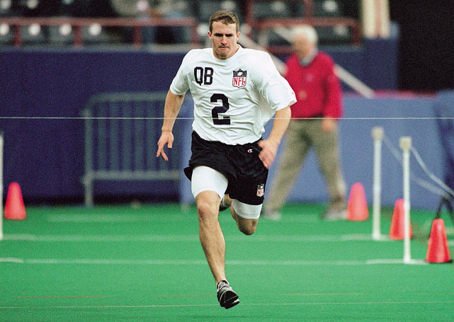 Eager to impress, Brees runs the 40 during the 2001 NFL Combine.  He'd clock in at 4.83, a good enough time to make him the 32nd overall pick.  He was the second quarterback selected, behind only Michael Vick.
