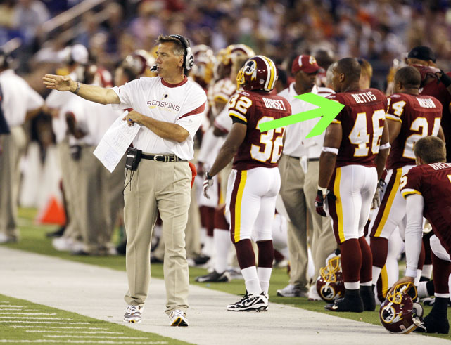 "Former Redskins running back Ladell Betts wore a jersey with an unnecessary ""i"" when his team faced the Ravens in a preseason game on Aug. 13, 2009."