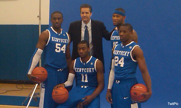 Kentucky coach John Calipari was eager to tweet out a behind-the-scenes look at his team's photo shoot for SLAM Magazine in Feb. 2010. Perhaps he failed to notice the blatant error on star John Wall's jersey. Calipari has since taken down the photo from his Twitter account.