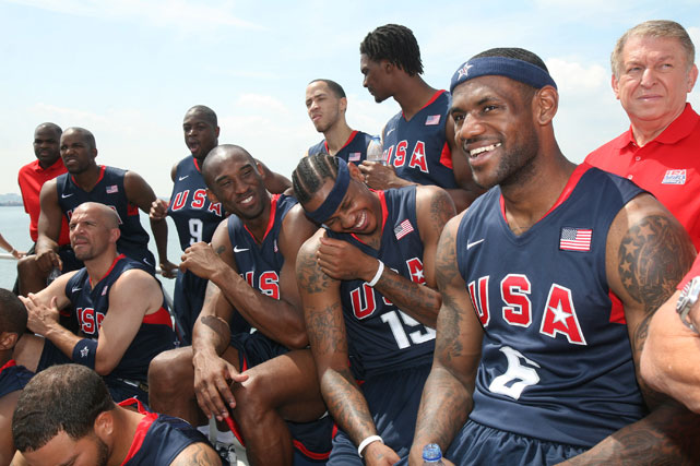 """Jason Kidd, Kobe Bryant, Carmelo and LeBron attend the U.S. Olympic Men's Basketball Team unveiling of their new team look to fans in New York before they took off for the 2008 Games in Beijing. The """"Redeem Team"""" defeated Spain in the final to capture the gold medal, ending an eight-year drought for the team at major international competitions."""
