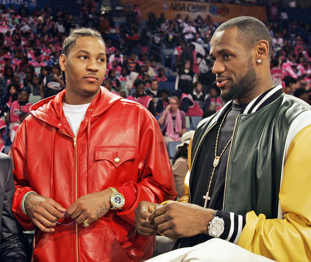 LeBron and Carmelo have remained close over the years. And it's quite obvious they share a lot in common: basketball and affinity for bright leather coats and oversized, diamond-encrusted watches.