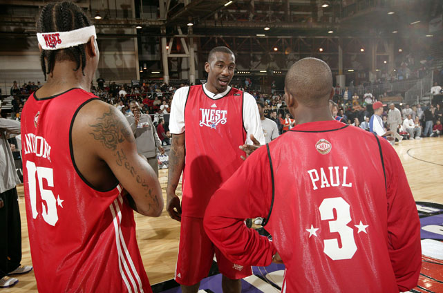 """Remember all the buzz after Carmelo's Manhattan wedding in July 2010, just days after LeBron announced his """"Decision"""" to head to Miami? Hornets star Chris Paul reportedly made a toast about one day joining Carmelo and Amar'e Stoudemire in New York to create the NBA's next Big Three (it was later revealed that the comment was taken out of context).<br><br>Well, here's that trio in 2008 at the West All-Star practice. The trio looks quite natural on the court together."""