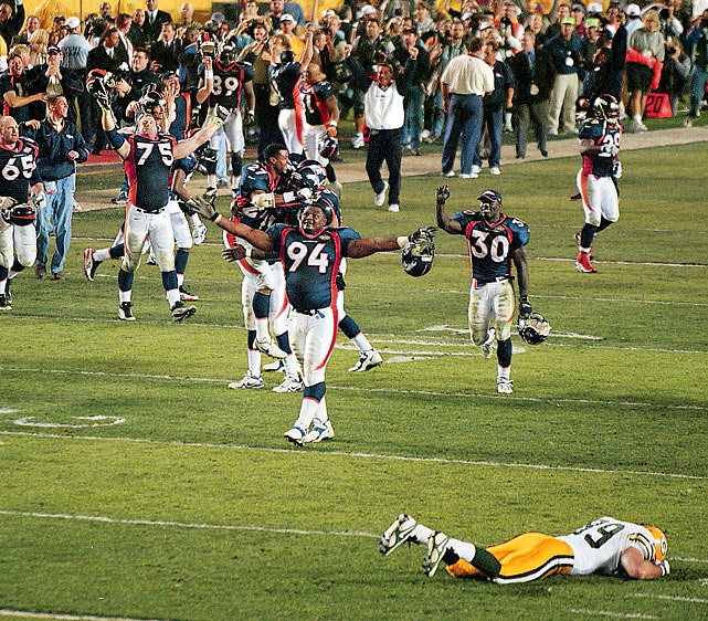 Though they entered the Super Bowl as 11 1/2-point favorites, the defending Super Bowl champion Packers fell to John Elway and the Broncos 31-24.  Running back Terrell Davis took home Super Bowl MVP honors with 157 yards rushing and three rushing touchdowns despite having to miss the second quarter due to a migraine headache.
