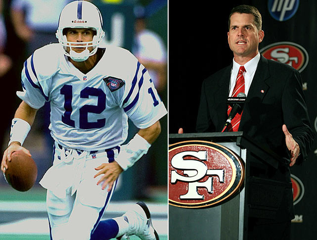 In his 15 seasons as an NFL quarterback, Jim Harbaugh showed a knack for the comeback. He was named Comeback Player of the Year with the Colts in 1995, and in 1996, his Colts team was one dropped Hail Mary away from a Super Bowl berth. The San Francisco 49ers hope Harbaugh can show the same penchant for revitalization, after hiring him as their head coach in January 2011.