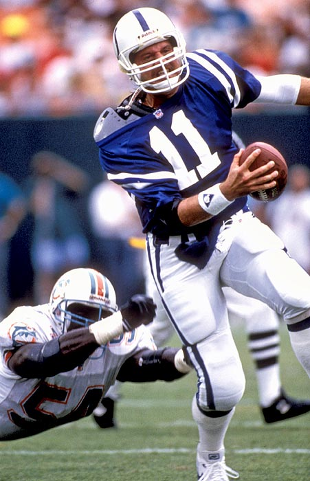 The strong-armed QB was inconsistent throughout his career, flashing glimpses of his raw natural ability but struggling to translate that into success on the field. Indianapolis went 14-35 in his time with the team, and he tossed more interceptions than touchdowns. He bounced around the league as a part-time starter, leading the NFL in passing yards with Oakland in 1999. But he failed to live up to the pre-draft hype.