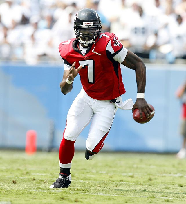 The QB's on-field success in Atlanta was overshadowed by how his run ended. When Vick went to prison for his role in a dog-fighting ring, it forced the franchise to start from scratch. Vick was only a 53-percent passer with the Falcons, but he ran for more than 500 yards in four of his six seasons with the team and made three Pro Bowls. Now the starter for Philadelphia, Vick made the Pro Bowl again in 2010.