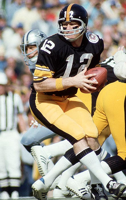The two-time Super Bowl MVP led Pittsburgh to four titles in a six-year period from 1974 to 1980. Bradshaw also earned NFL MVP honors after the 1978 season, when he led the league with 28 touchdown passes and piloted the Steelers to a 14-2 record. He started his career slowly but was inducted into the Hall of Fame in 1989.