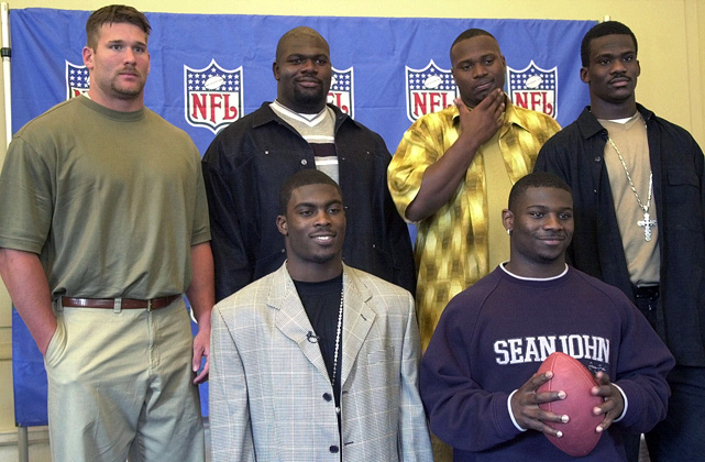 The careers of the six first-rounders highlight the uncertainty of the draft. Tomlinson is an all-time great and former league MVP, and Vick is a four-time Pro Bowler (but went to jail for his role in a dog-fighting ring). Leonard Davis and Justin Smith have had solid, productive careers. But Kenyatta Walker struggled in his six seasons and David Terrell was even worse, lasting only one game into his fifth season.