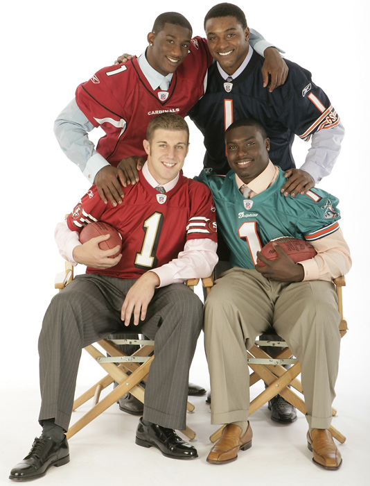 The four first-round picks have had mixed results in their careers. Smith, the No. 1 pick, has been a part-time starter for the 49ers. Brown has battled injuries in his career but made the 2008 Pro Bowl. Rolle has been the most successful of the four, making two Pro Bowls in his career. Benson was a bust for Chicago but has restarted his career in Cincinnati, rushing for more than 1,000 yards in each of the past two seasons
