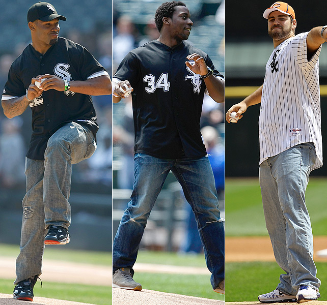 Seems as though the White Sox have the market cornered on NFL players throwing out the first pitch. Matt Forte (left), Rashard Mendenhall (center) and Gabe Carimi all sport similar looks while taking the mound at U.S. Cellular Field in Chicago.