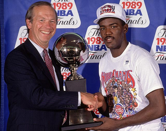 The 6-3 Pistons guard led the Pistons in scoring with 27.3 points as they swept the Lakers and won their first NBA championship. Dumars displayed suffocating defense in the playoffs, primarily on Michael Jordan, whose Bulls lost to the Pistons in the Eastern Conference finals.